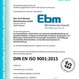 Zertifikat DIN ISO 9001:2015 DE