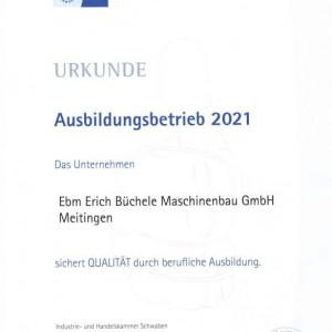 Urkunde IHK Schwaben Ausbildungsbetrieb 2021